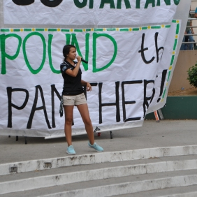 'PEPPING' IT UP: Senior pep commissioner, Michelle Ibarra rallies the crowd during the rally.