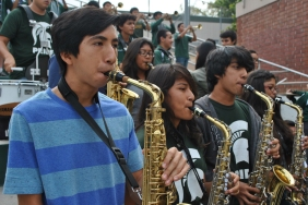 TACO MAMBO: The saxophone section joins the rest of the Schurr Legion in playing the Spartan fight song, 'Taco Mambo.'